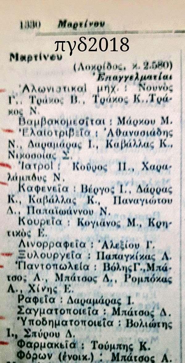 Κατάλογος επαγγελματιών Μαρτίνου Λοκρίδος το έτος 1935.