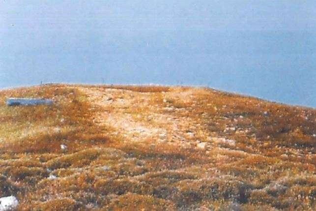 Το σκάμα του Μυκηναϊκού τάφου στον χωμάτινο τύμβο του κόλπου της φτελιάς στη Β. Μύκονο